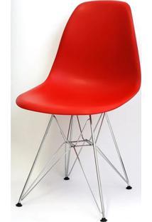 Cadeira Eames Polipropileno Vermelha Base Cromada