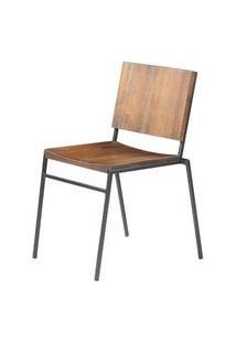 Cadeira Dix Com Assento Em Madeira Rustic Brown Base Em Aco Grafite - 56050 Rustic