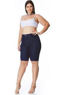 Bermuda Jeans Zait Comprida Plus Size Tina Feminina - Feminino-Azul