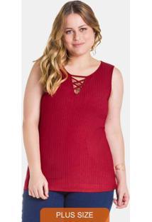 Blusa Canelado Transpassado No Decote Vermelho