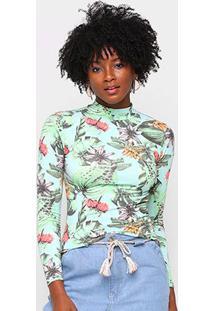 Camiseta Volare Estampada Gola Alta Manga Longa Feminina - Feminino-Verde+Roxo