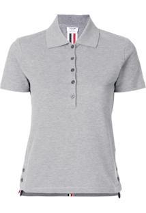 4c3b097efa ... Thom Browne Camisa Polo Com Fendas Laterais - Cinza