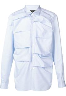 Comme Des Garçons Homme Plus Camisa Listrada - Azul