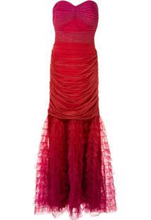 Tadashi Shoji Vestido De Festa Tomara Que Caia Com Tule - Vermelho