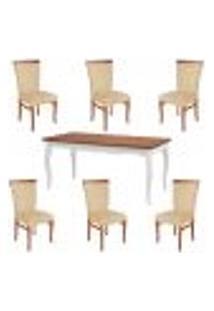 Conjunto Mesa Gallia 180Cm Com 6 Cadeiras Orfeu Poliéster Branco/Imbuía - Gran Belo