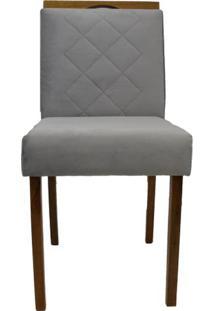 Cadeira Bruna Chenille Cinza Claro Com Puxador Base Mel 46Cm - 57360 - Sun House
