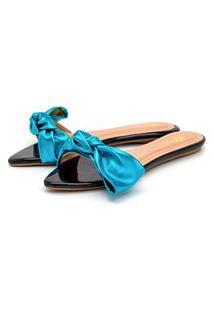 Sandália Rasteira Em Verniz Preto Com Azul Serenity Metalizado Lançamento