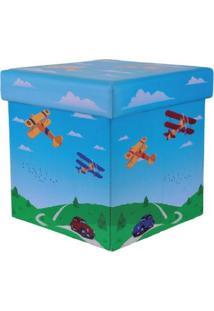 Puff Baú Infantil 30Cm X 30Cm Resistente Com Tampa Aviões - Bene Casa