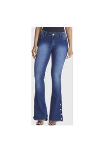 Calça Jeans Zuren Flare Botão Barra Azul