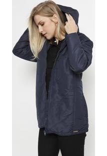 Jaqueta Em Matelassê Com Bolsos & Capuz- Azul Marinho