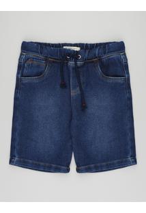 Bermuda Jeans Infantil Com Cordão Azul Escuro