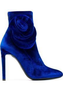 Giuseppe Zanotti Design Bota De Veludo Com Detalhe De Rosa - Azul