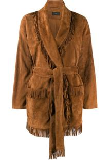 Alanui Front Tie Fringed Suede Jacket - Marrom