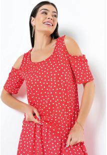 Blusa Ombro Vazado Coração Vermelha