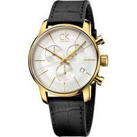 17d44cac2e2 Relógio Calvin Klein Masculino Em Couro Preto