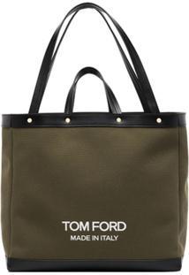 Tom Ford Bolsa Tote Média Com Logo - Verde
