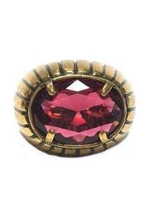 Anel Armazem Rr Bijoux Pedra Única Feminino - Feminino-Dourado+Vermelho