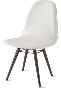 Cadeira Boom Assento Estofado Courissimo Branco Base Tabaco - 39915 Sun House