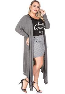 Max Cardigan Cinza Plus Size