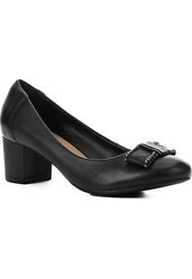 Scarpin Couro Shoestock Salto Bloco Laço - Feminino-Preto