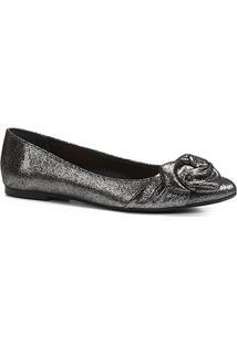Sapatilha Shoestock Nó Drapeado Feminina - Feminino-Chumbo