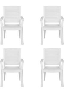 Conjunto Com 4 Cadeiras De Jardim Manoa Branco