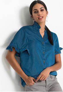 Blusa Jeans Com Babados Azul Médio