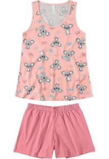 Pijama Rosa Feminino Curto Estampado