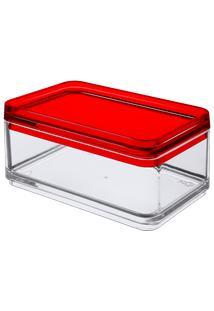 Mini Organizador Mod 11 X 7,3 X 5,5 Cm Cristal Com Vermelho Coza