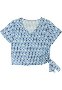 Blusa Com Estampa Geométrica Azul