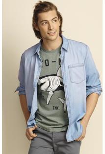 Camisa Jeans Masculina Slim De Manga Longa Com Lavaçã Clara Hering