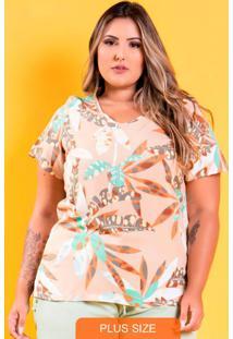 Blusa Decote V Charlotte Floral Plus Size Laranja