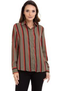 Camisa Kinara Crepe Manga Martingale Feminina - Feminino-Vermelho+Preto