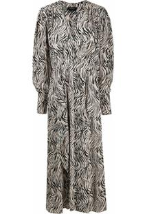 Isabel Marant Vestido Longo Com Estampa De Zebra - Preto