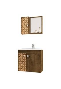 Conjunto P/ Banheiro Munique Madeira Rústica Móveis Bechara Marrom
