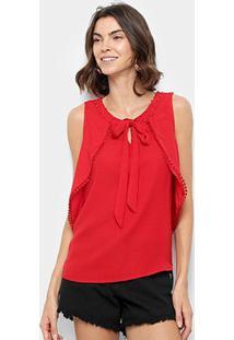 Blusa Ms Fashion Sobreposição Decote Vazado Costas Feminina - Feminino-Vermelho