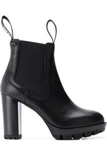 Karl Lagerfeld Ankle Boot De Couro - Preto
