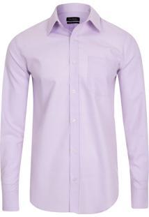 Camisa Social Tricoline Soft Lilás