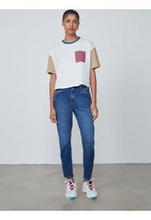 Camiseta Manga Curta Feminina Color Block - Off White