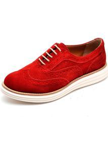 Sapato Oxford Q&A 300 Couro Camurça Vermelha - Kanui