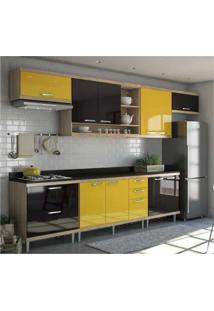 Cozinha Completa Multimóveis Com 8 Peças Sicília 5801 Argila/Preto/Amarelo