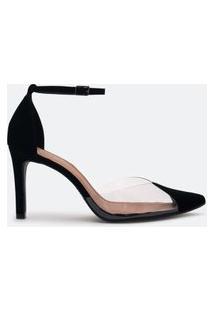 Sapato Scarpin Feminino Detalhe Vinil Frontal Satinato | Satinato | Preto | 36