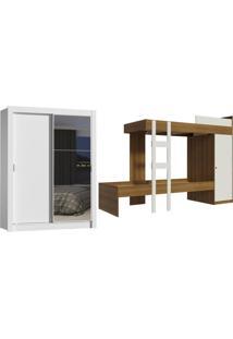 Kit Madesa Guarda-Roupa Infantil Dallas Plus Com 2 Portas De Correr Com Espelho + Beliche Larissa Branco