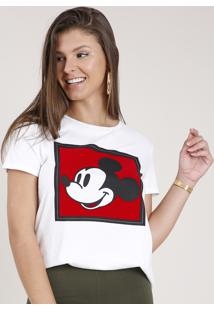 Blusa Feminina Mickey Mouse Manga Curta Decote Redondo Branca