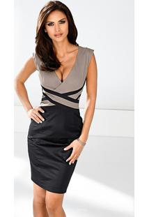 Vestido Decote V Com Recortes Preto