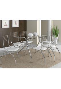 Mesa 387 Com Vidro Incolor Cromada Com 6 Cadeiras 146 Branca Carraro