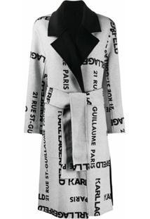 Karl Lagerfeld Casaco Dupla Face Com Estampa De Logo - Cinza