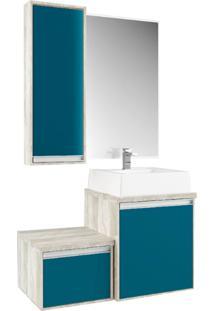 Gabinete Para Banheiro Com Espelheira Calcare E Turquesa