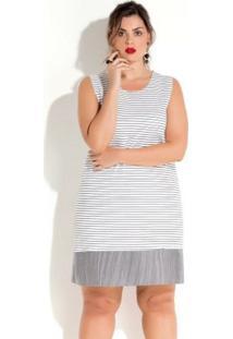 Vestido Quintess Sem Mangas Listrado Plus Size - Feminino-Branco