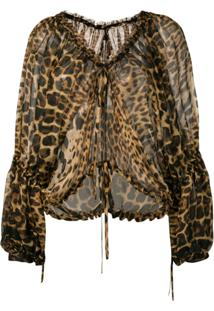 Saint Laurent Blusa Animal Print - Marrom